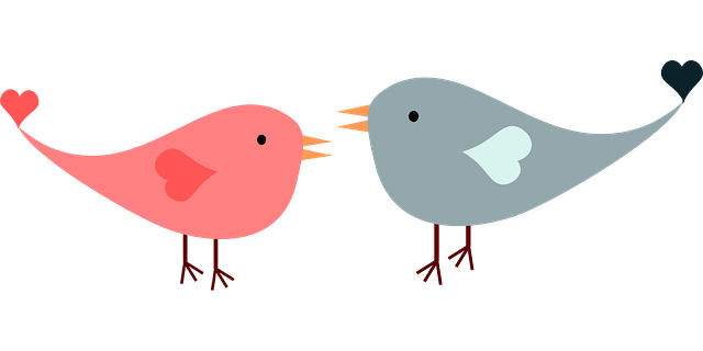 A drawing of two birds with heart shaped wings