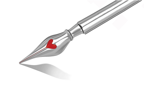A fountain pen with a heart on it