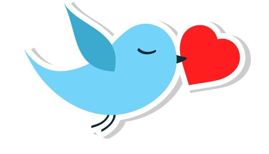 Twitter bird holding a heart