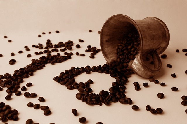 Coffee beans in a heart shape