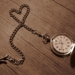 Pocket watch with heart shaped chain