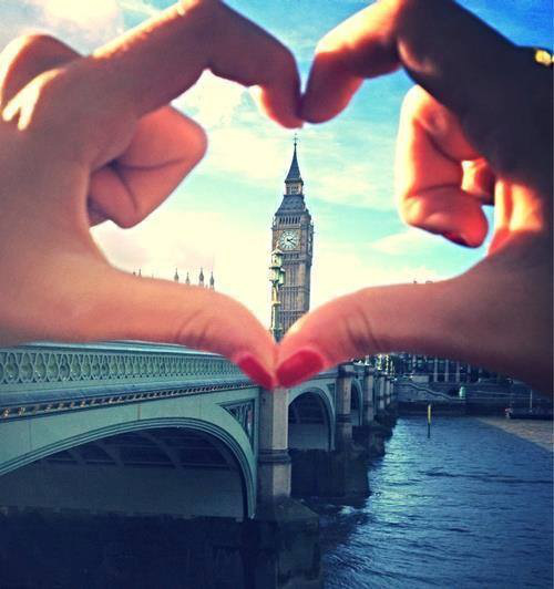 Girl making a heart shape with her hands in London