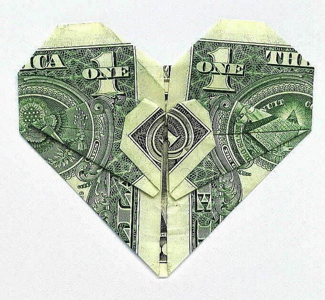 Money folded into a heart shape