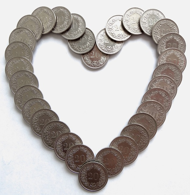 A heart shape made with coins