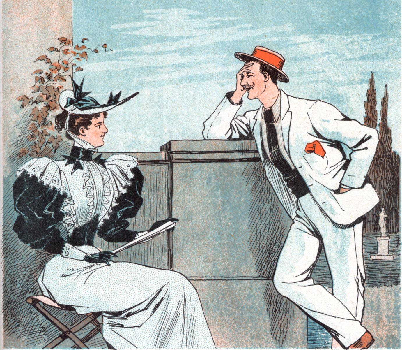 A drawing of a Victorian couple